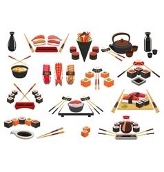 Seafood sushi sashimi icons and emblems vector