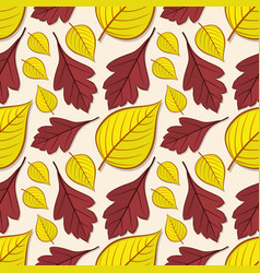 seamless pattern with hawthorn and linden leaves vector image