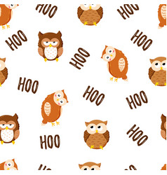 seamless texture with cute cartoon owls vector image