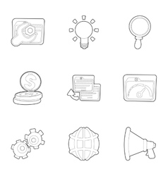 SEO promotion icons set outline style vector image