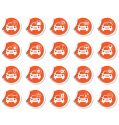Set of 20 cars wit signs ORANGE LABEL vector