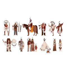 set of indians in traditional costumes native vector image