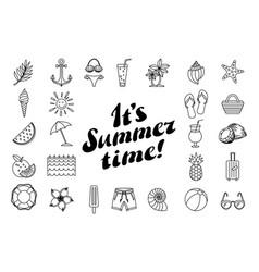 set summer icon design elements summer time vector image