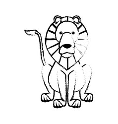 Sketch lion wild life sitting icon vector