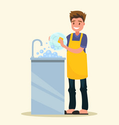 Smiling man dressed an apron is washing dish vector