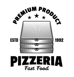 stack pizza boxes emblem badge label vector image