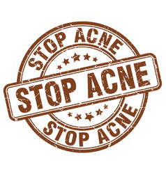stop acne brown grunge stamp vector image