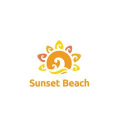 summer sun ocean sea wave island beach logo vector image