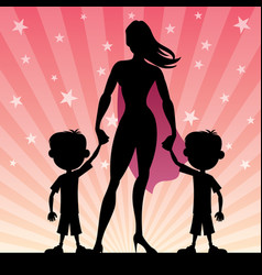 Super mom with twin boys vector