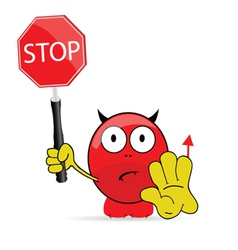 sweet and cute devil with sign stop vector image