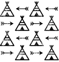 Teepee and arrows seamless pattern aztec vector