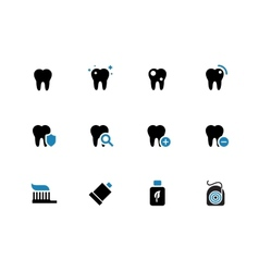 Tooth teeth duotone icons on white background vector