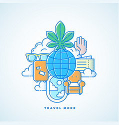travel more line style vacation vector image