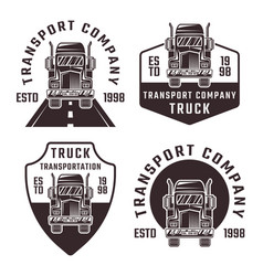 truck set four black vintage emblems vector image