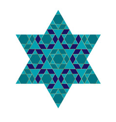 Turquoise blue and gold jewish star vector