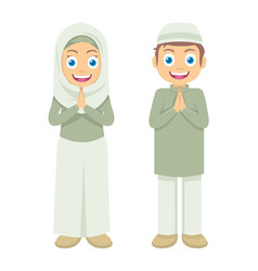 Two little muslim kids greetings ramadan kareem vector