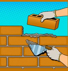 wall building process pop art vector image