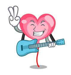 With guitar ballon heart mascot cartoon vector