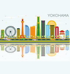 Yokohama skyline with color buildings blue sky vector