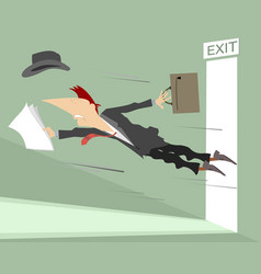 young man flies out from the open door vector image