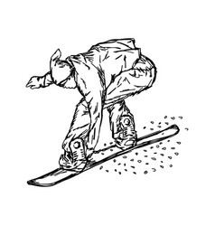 active man snowboarder riding on slope vector image vector image