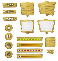 cartoon wood elements for ui game vector image vector image