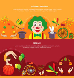 circus horizontal banner set vector image