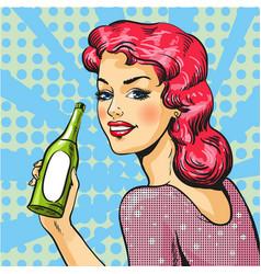 woman with wine in pop art vector image