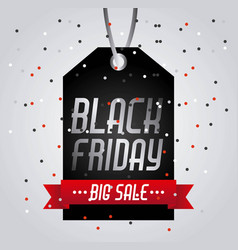 black friday big sale tag price shopping confetti vector image