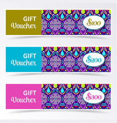 colorful gift voucher templates vector image