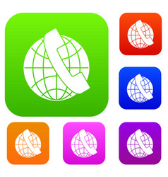 handset and globe set collection vector image