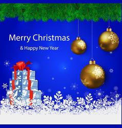 merry christmas beige background blur vector image vector image