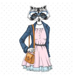 Retro hipster fashion animal raccoon woman model vector