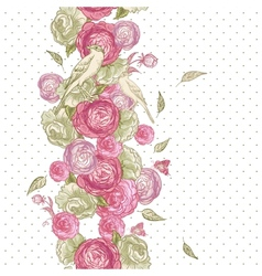 Rose Seamless Background with Birds vector image vector image