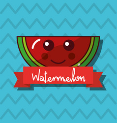 smiling watermelon fruit kawaii cheerful character vector image