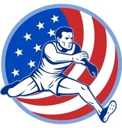 track and field athlete jumping stars and stripes vector image vector image