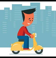 Young man Riding Scooter vector image