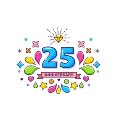 Anniversary colorful background stroke icons vector image vector image