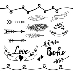 Collection of boho doodle design elements vector image vector image