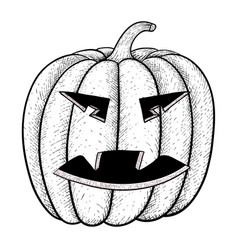 halloween pumpkin black and white hand drawn vector image vector image
