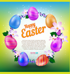 happy easter greeting card with round frame of vector image vector image