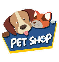 Pet shop sign with cute dog and cat vector