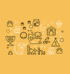 pets line icons vector image
