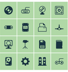 set of 16 computer hardware icons includes web vector image