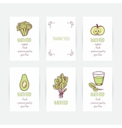 Set of business card templates with vegetarian vector image