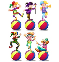 Six characters of clowns vector image