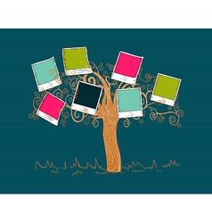 Vintage colors instant photo tree vector image