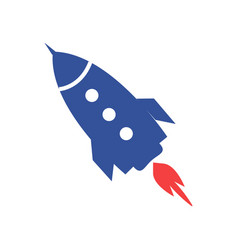 blue rocket icon isolated on white vector image vector image