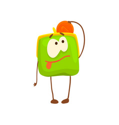 cute purse character with golden coin funny green vector image vector image