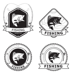 Fishing Bass Label vector image vector image